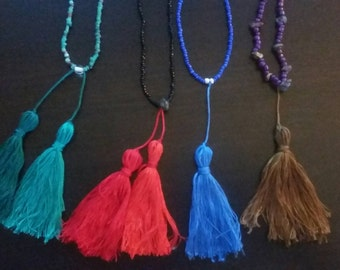 Tassel necklace // Beaded necklace // Bohemian necklace // Made to order
