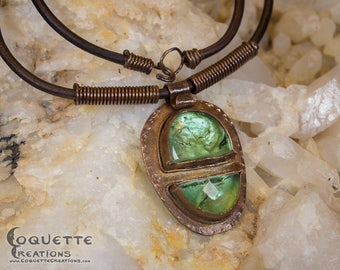 Hammered Copper Green Glass Necklace