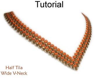 New Beading Tutorial Pattern - Miyuki Half Tila Two Hole Beads - Beaded Necklace - Simple Bead Patterns - Half Tila Wide V-Necklace #27077
