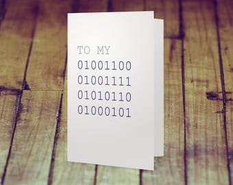 To My Love (binary) – Love Card – Romantic Card – Funny Card – Nerdy Card – Valentine's Day