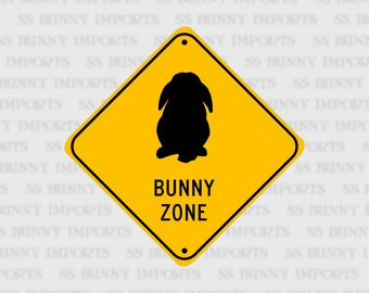 "Lop Bunny Zone; pet rabbit sign, aluminum, 6"", glossy black on caution yellow"