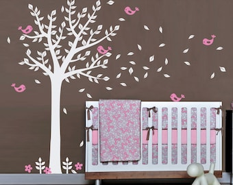 Nursery Wall Decals - Cute Baby Room Tree Decal with Birds - Wall Decor Stickers - WAL-2104A