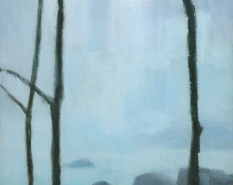 Iguazu Falls, Waterfall Painting Signed Fine Art Print, 26x9 inches