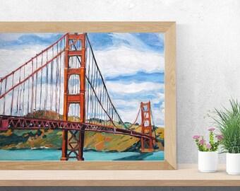 Golden Gate Bridge San Francisco Painting  Fine Art Print 8x10  Cityscape Painting by Gwen Meyerson