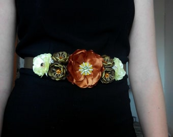 Maternity sash belt/Blush flower girl sash/Flower sash/Flower girl dress/Flower belt/Brown Yellow flower belt/Flower girl sash/Rose sash