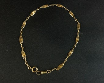 Antique 19th - Watch (chatelaine) solid gold chain 18 k - 37 cm