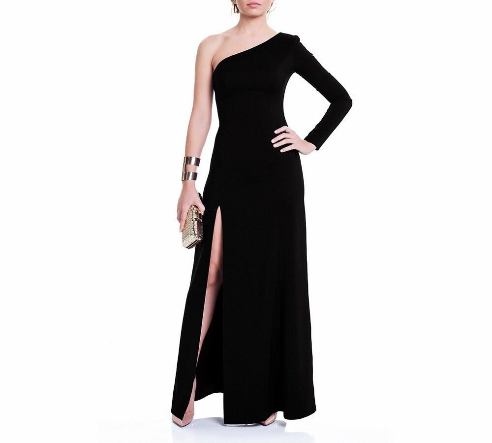 Maxi-Kleid ab Schulter Kleid einem Ärmel Maxi Kaftan Kleid