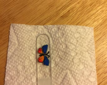 "Czech Glass Nail File Standard Length 5 1/2"" Hand Painted Butterfly"