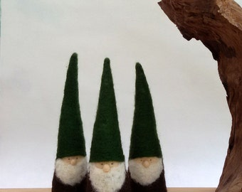 Felted Christmas Gnome 3 figurines - Waldorf Inspired