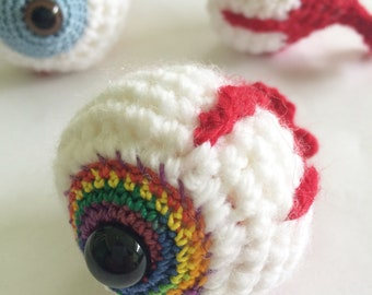 Crochet Pattern Kit, Crochet Pattern, Crochet Eyeball, Eyeball Pattern, Rainbow Crochet