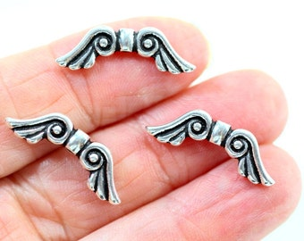 TierraCast Large Angel Wing Beads, Jewelry Findings, Silver Wing BeadsAntique Fine Silver Plated Lead Free Pewter, 6 Piecees, 0012