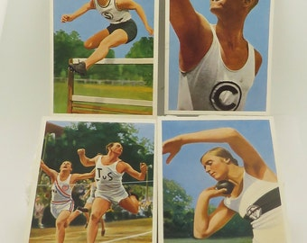 """6 Vintage 1936 BERLIN Olympics German Athletes Colored Pictures 4 1/4"""" x 2 7/8"""", Cards / 6."""