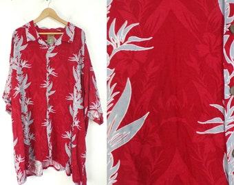 90s Red & Gray Floral Hawaiian Shirt Mens Size 5X, 5XLT, Red Hawaiian Shirt, Summer Shirt, Tropical, Beach Shirt, Hawaii,Mens Hawaiian Shirt