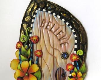 Believe Toadstool Garden Fairy Door with a Pet Door by Claybykim Polymer Clay Miniature Fairy Gardens and Home