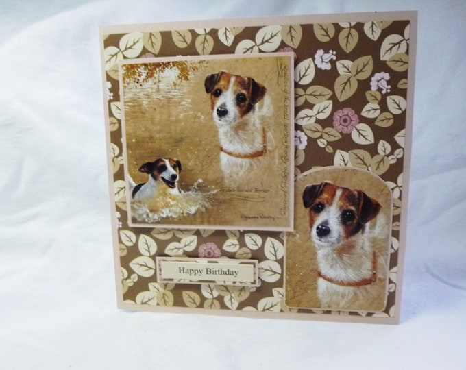 Jack Russell Dog Card, Dog Lovers Card, Small Dog Card, Birthday Card, Pink and Beige, Male or Female, Greeting Card,