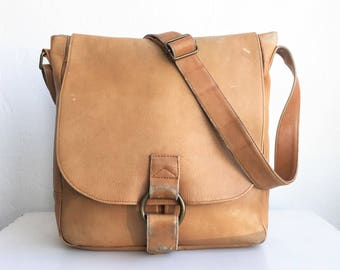 Tan Leather Messenger Crossbody Envelope Bag