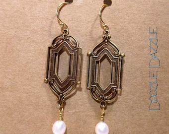 Pearl Art Deco Earrings - Dangle - Downton Abbey Inspired - Freshwater Pearl - Gemstone