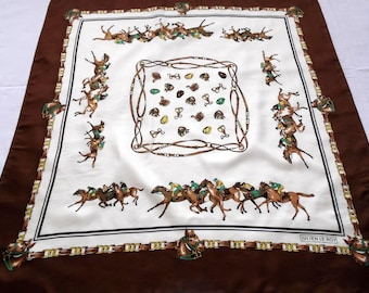 vintage silk hand rolled Scarf / shawl withmade of 100% silk horses and jockeys JULIEN LE ROY