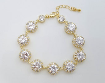 Gold Wedding Bracelet, Crystal Bridal Bracelet, Round CZ Bracelet, Rose Gold, Zirconia Bracelet, Gold Wedding Jewelry, Evita