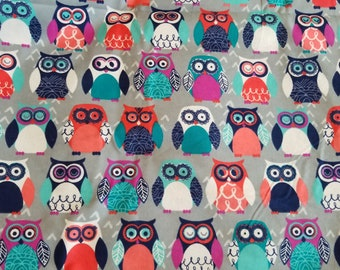 Bright Colored Owl flannel Fabric | Boy or girl Nursery Fabric | Owl  Fabric | Woodland fabric |  fabric by the yard