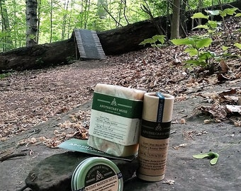 Woodsy Warrior Bundle - Poison Ivy & Oak/Insect Repellent Soap, Sunstick and Salve - Gift for Mountain Biker, Vegan, Zero Waste