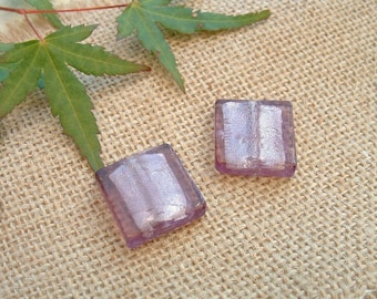 Set of 2 glass plum with silver foil inlaid 20X20mm square beads