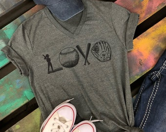 LOVE Softball Soft V-neck shirt T-Shirt Tee Mom Athlete