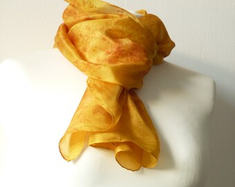 naturally dyed silk scarf gold scarf gold silk scarf orange scarf orange silk scarf eco print scarf onion skin eco friendly silk unique