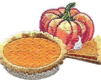 Pumpkin - Pumpkin Pie - Dessert - Thanksgiving - Embroidered Iron On Applique Patch