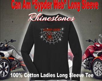 Can Am Spyder Web Long Sleeve Rhinestone Shirt