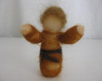 Nativity set, child shepherd, needle felted wool, Waldorf inspired miniatures, kid shepherd
