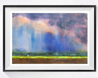 Sky Landscape, Abstract watercolor print, Sky painting, Stormy sky painting abstract, Farmland watercolor, Abstract watercolor painting 3