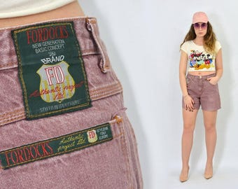 Vintage shorts Burgundy jean stone wash High waisted rocker red festival patched women 90s L Large W32
