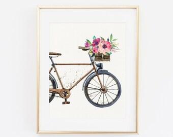 Printable Wall art, Floral Bike, bicycle Wall Art, Floral Watercolor bike Art Print, Life Is A Beautiful Ride, Bike Wall Art, enjoy the ride