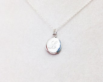 Sterling Silver Disk Necklace with One Engraved Initial - Bridesmaids