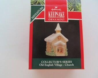 FREE Shipping --Hallmark Miniature Ornament  1992  - Old English  Village Church -  NIB