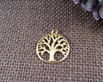 Tree of Life Charm, Gold Tree of Life Charm, Family Tree Charm, Tree of Life Pendant, Tree Charm, Tree Pendant