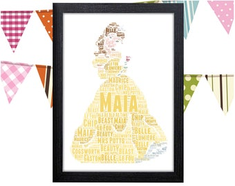 Personalized Gift Beauty And The Beast Gifts Belle Dress Gift Wall Art Wall Prints Wall Art Wall Decor Personalised Gift Wall Art Prints