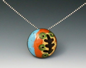 Enamel Pendant No. 3 - vitreous enamel necklace , painted, limoge, abstract jewelry, enamel pendant, nature inspired, colorful jewelry