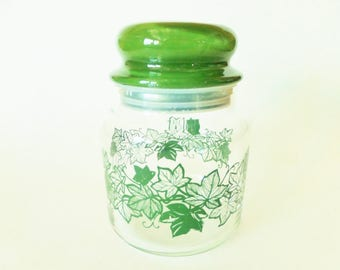 Vintage Glass Storage Container with Lid - Avocado Green Canister - 1970s Kitchen