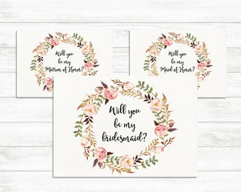 Will You Be My Bridesmaid, Maid of Honor, Matron of Honor Set, Floral Printable Bridesmaid Card Set Bridesmaid Proposal Card Matron of Honor