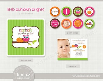 Little Pumpkin Printable Birthday Party Package by tania's design studio