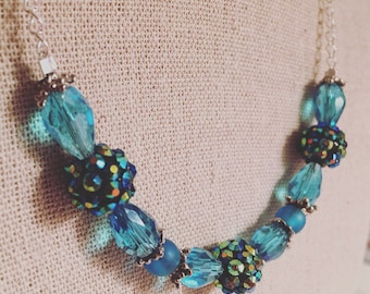 Blue, Teal, and Green, Sparkly Necklace