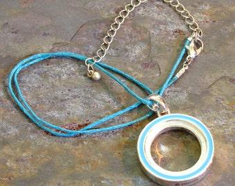 Aqua Blue Circle Necklace ~ Circle of Life Pendant ~ Karma Necklace ~ Eternity Circle Necklace: 16 - 19 inches