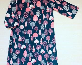 Cotton dress / Japanese dress / summer dress/A-silhouette dress/comfortable dress/linen dress/pattern dress/comfortable dress/printed cotton