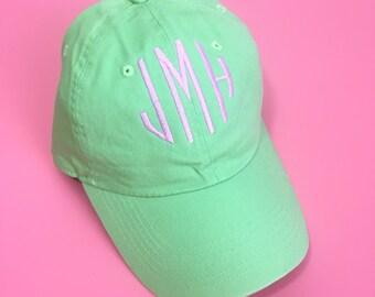 Monogram Baseball Hat Embroidered Monogrammed Baseball Cap Adjustable Seersucker Hat Personalized Gift Ladies Hat Group Gift