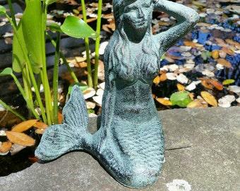 Mermaid Statue - Cast Iron Statue, Mermaid Nursery Decor, Mermaid Figurine, Mermaid Garden Decor, Mermaid Room Decor, Outdoor Mermaid Decor