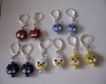 CATS, children earrings, choose color earrings