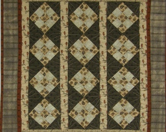 Primitive Quilted Wall Hanging, Civil War Nine Patch Quilt, Earth Tone Quilt, Taupe Rust Tan Cream Quilt, Wall Art Quilt, Fiber Art Quilt