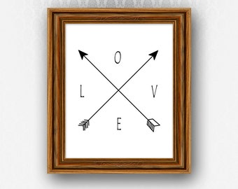 Love Compass PRINTABLE Wall Art North South East West Arrows Digital Instant Download Modern Decor Adventure Travel Art White Wanderlust